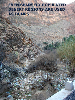 Morocco mountain gorge full of plastic