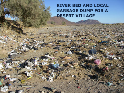Morocco desert river bed garbage